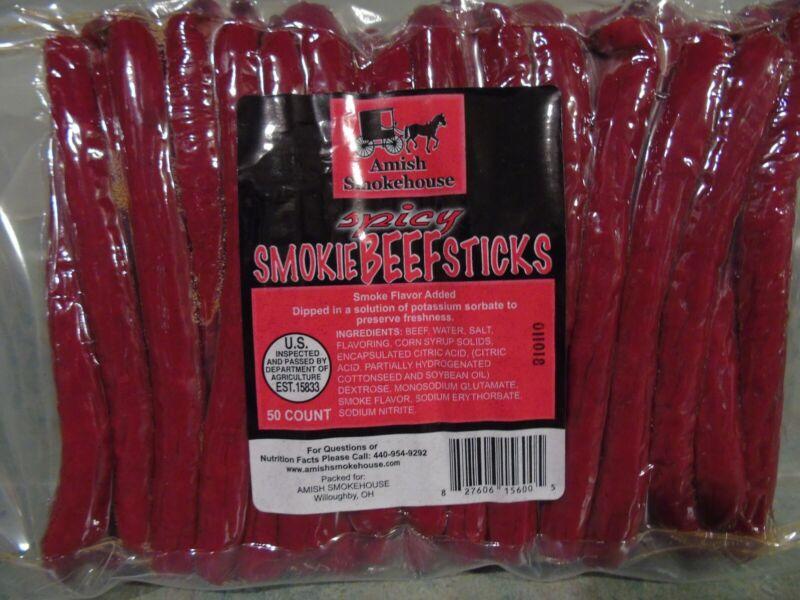 Amish Smokehouse Beef Sticks 50ct Bulk, Spicy