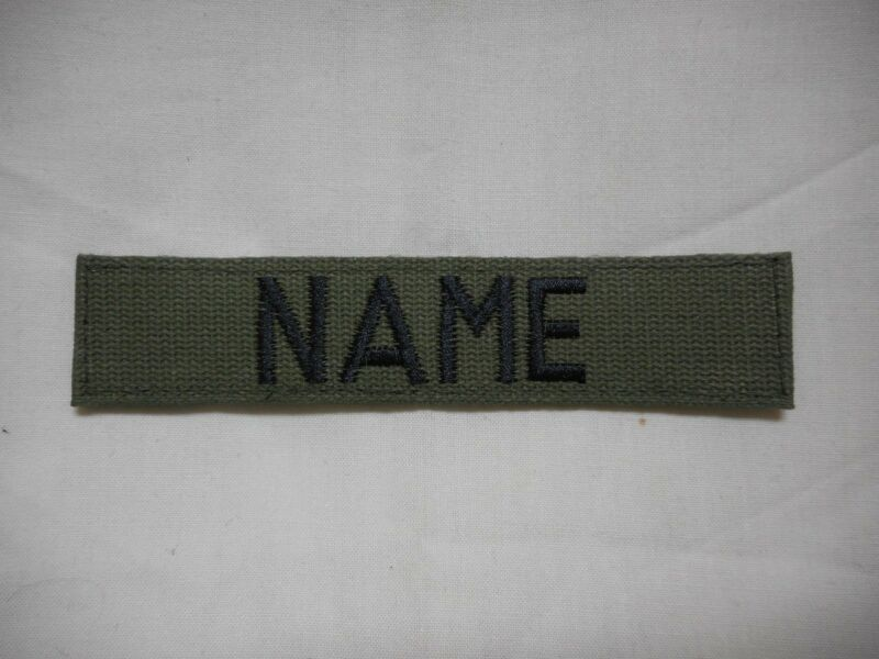 CUSTOM EMBROIDERED OD GREEN NAME TAPE, NEW, 5 INCH LENGTH, WITH HOOK  FASTENER*