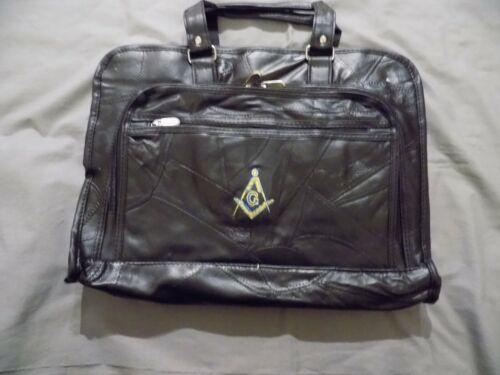 Black Master Mason Square Compass Soft Leather Briefcase Freemason Zippers NEW!