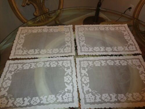 4 UNUSED VINTAGE Madeira Floral Embroidery Portugal 14x19 White LINEN/COTTON