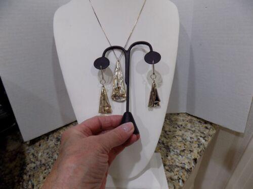 Vtg Sterling Silver Electroform Modernist  Earrings/Pendant Necklace Set 925