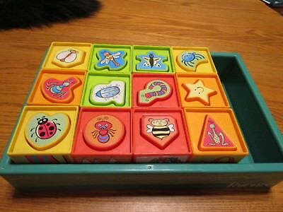 COLORFUL  BLOCKS  12 in set  ABC 123 Parent Magazine with storage tray  7013