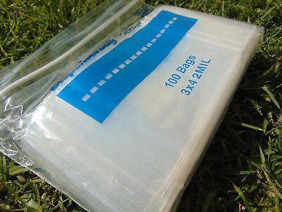 100 3x4 Zip Lock Bags Clear 2mil Poly Ldp Reclosable Zippit 100 Small Baggies