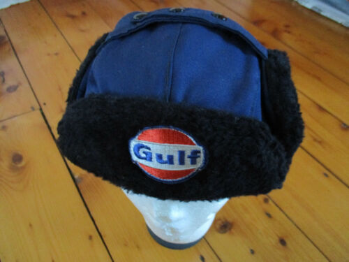 vintage GULF Winter Gas Station Attendant HAT with Ear Warmer Flaps 7-3/4 used