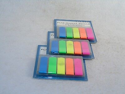 Flag Markers Self-stick Page Markers 600 Ct. 5 Neon Colors Two Styles