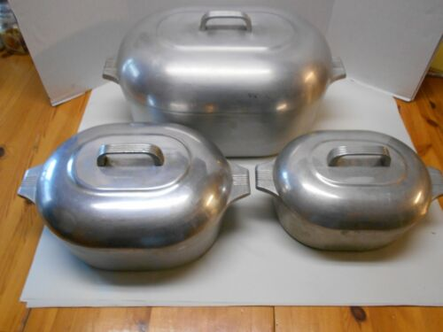 3 Vintage Wagner Ware Sidney Magnalite 4269 4263 and one other roasters w lids