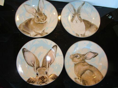 Williams Sonoma Damask Bunny salad Easter  set 4  plates New wo box