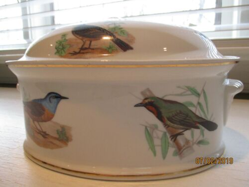 Vintage Louis Lourioux Le Faune Oval Covered Casserole Dish/Tureen Birds France