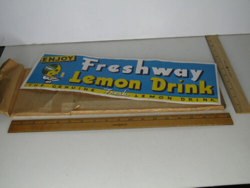 1930s NOS BUNDLE OF 100 ORIGINAL LABELS FRESHWAY LEMON DRINK - ADORABLE!