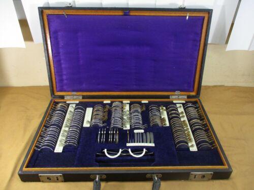 Antique Optometrist Travelling Eyeglass Trial Lens Fitting Kit Case   Japanese