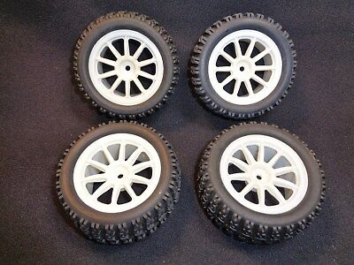 RC Truck Tires 1/10 CEN Block Tires and Wheels Set of 4 12mm Mount LOSI OFNA NEW