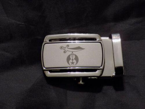 "Masonic Black Leather Ratchet Belt & Buckle Shriner Sword Fits up to 60"" NEW!"