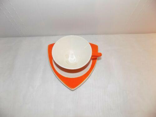 Salem China Tricorne Streamline Orange Art Deco 1 Cup & 1 Snack Plate Saucer