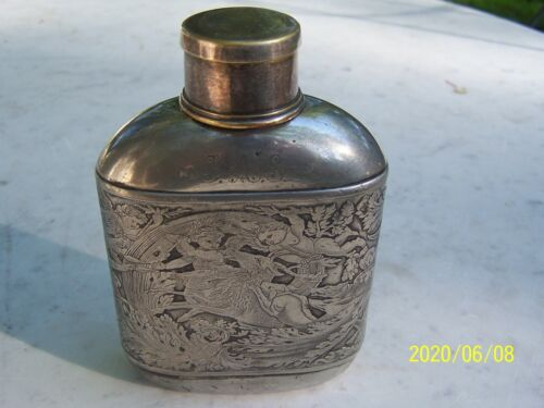 Embossed Meriden Britannia Co Flask Hunting Cherubs and Dogs Collapsion Cup