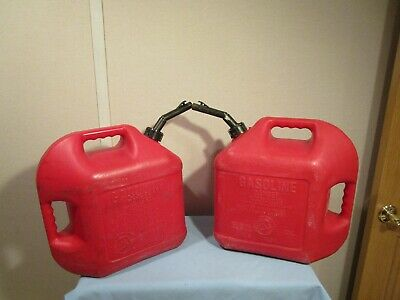 Vintage Blitz pre ban 5 gallon gas cans lot of 2 model #50833