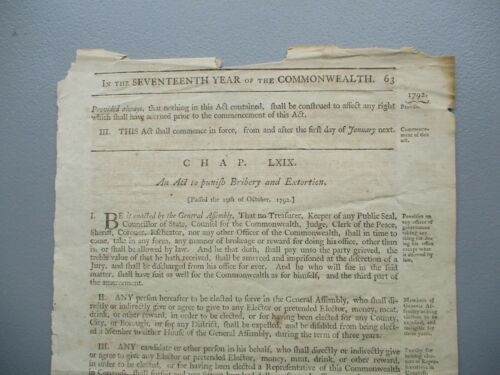 1792 Bribery & Extortion England ACT for PUNISHMENT Electing Senators,Broadside!