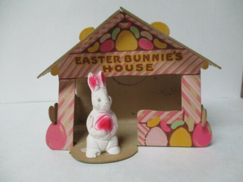 Fabulous Vintage  - EASTER BUNNIES HOUSE w Chalkware Rabbit