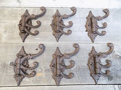 6 Cast Iron Antique Style SWIVEL Coat Hooks Hat Hook Rack Hall Tree Restoration