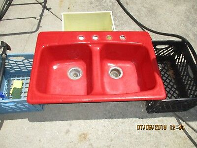 KOHLER CAST IRON DOUBLE BOWL DROP IN KITCHEN SINK 4 HOLES RED CAN SHIP!!!!!!!!