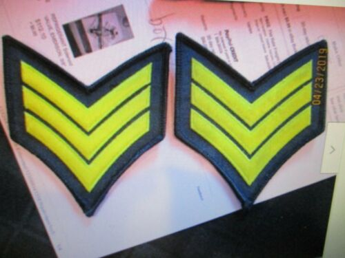 2 Police SGT Sergeant Chevron Light GOLD on MIDNIGHT NAVY collar/lapel patches