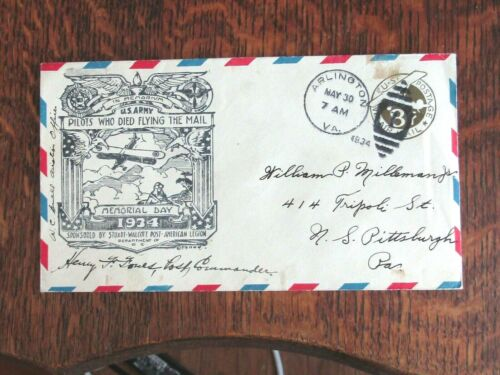 1934 U.S. ARMY PILOTS WHO DIED FLYING THE MAIL COVER COMMANDER SIGNED RARE