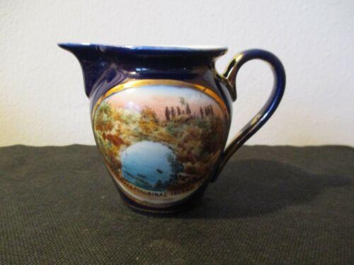 Circa 1915 Souvenir Cobalt Blue Porcelain Creamer Mackinac Island Michigan