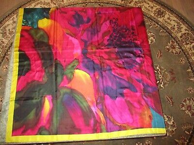 Vintage Scarf Styles -1920s to 1960s Vintage Silk Scarf Abstract Red & Pink Print Flower Pop Art 41