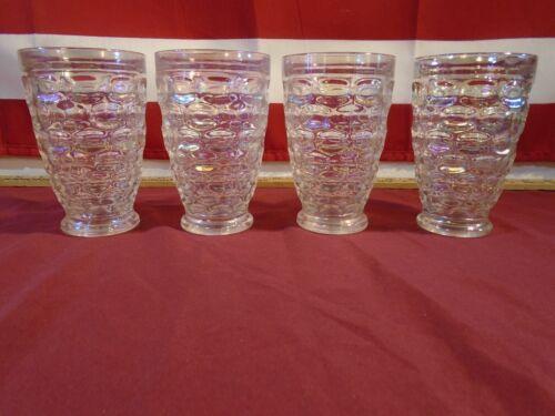 "4 Vintage Federal Yorktown Iridescent Thumbprint Glasses 5"""