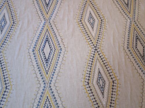 Tan Embroidered Cotton Fabric Richloom