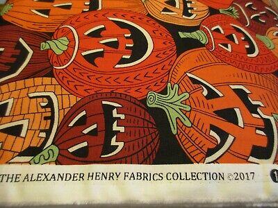 Cotton Fabric 1 Yard Alexander Henry Pumpkins Orange Halloween Jack-O-Lanterns