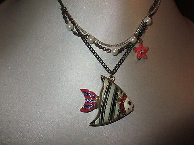 Betsey Johnson Striped Angel Fish Necklace  Angel Fish Necklace