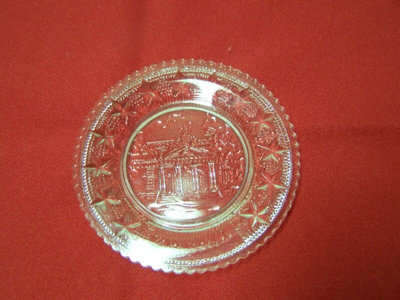 Monticello glass miniature plate, Thomas Jefferson president declaration