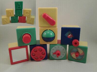 RARE 1977 Vintage 8 Plastic Childrens Alphabet Fine Motor Skills Building Blocks
