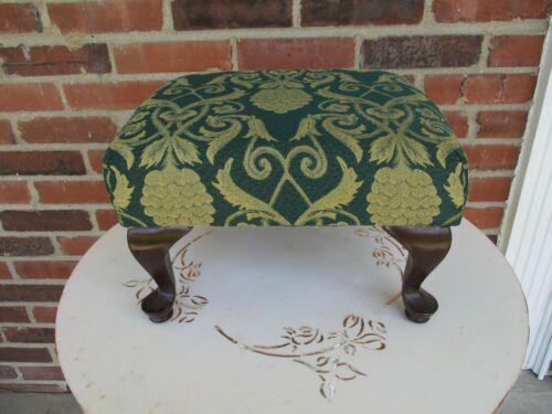 Vintage Ottoman Footstool Hunter Green Gold w Queen Anne Legs Lt Wear 14x12x 9h