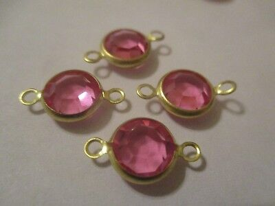 16 Swarovski Gold Plated Brass 9 mm Rose Crystal Channel 2 Loop Beads S9D