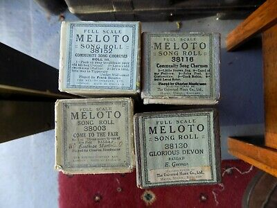 Pianola Rolls Meloto x4 Community Song selections and others 11 tunes with WORDS