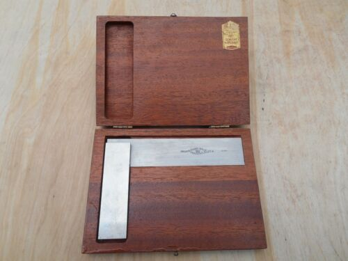 """BROWN & SHARPE 540 SQUARE , 4-1/2"""" WITH WOOD CASE , NICE !"""