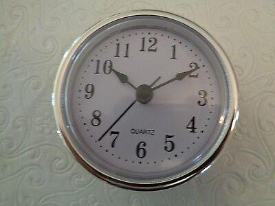 "2-1/2"" (65mm) QUARTZ CLOCK FIT-UP/Insert, Arabic Numeral, White Face,Silver Trim"