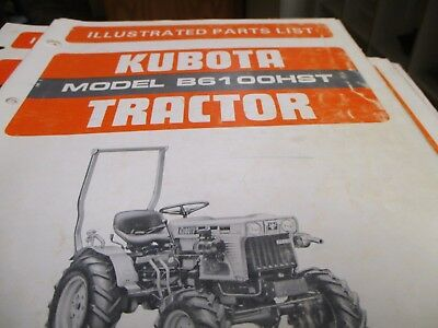 Kubota B6100hst Tractor Parts List Manual