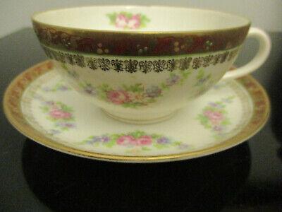 Set of Four Antique Haviland Limoges Floral Custard Fruit Dessert Cups and Saucers