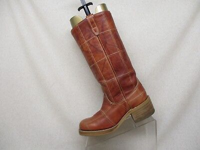 Acme Brown Marble Leather Campus Cowboy Western Boots Size 7 D - 78706 USA