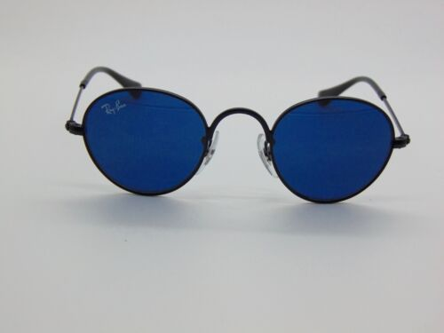 New Ray Ban Jr. Round Metal RJ 9537S 201/80 Matte Black/Blue Kids Sunglasses