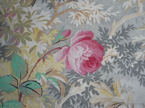 Antique French Roses Floral Woodland Cotton Fabric ~ Aqua Pink Gray ~Cutter ?