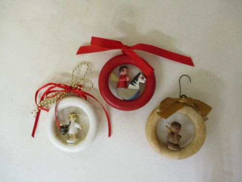 """3 Primitive Vintage Wood Angel Curtain Ring Christmas Ornaments 3"""" Hand painted"""