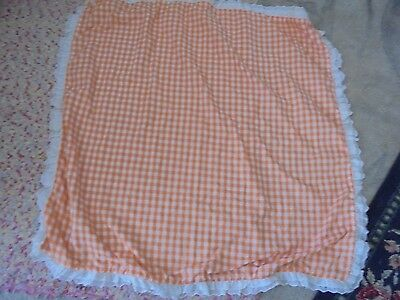 """VIntage handmade orange gingham lace trimmed tablecloth 38x36"""" classic farmhouse"""