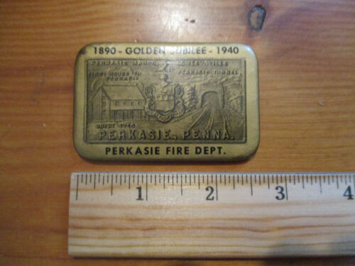 vtg Celluloid Advertising Pocket Mirror, Perkasie, PA Fire Dept. Golden Jubilee