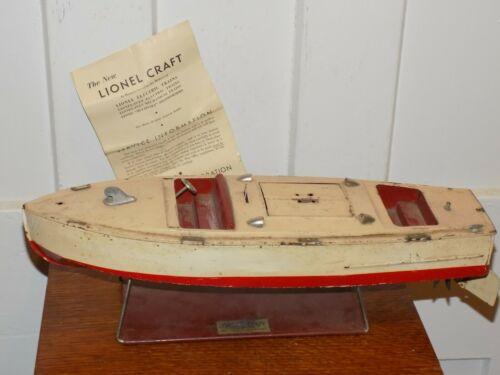 Vintage Lionel-Craft Toy Boat with Stand and Instruction sheet book
