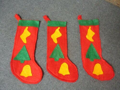 "3 - Vintage Felt Christmas Stockings w/ Appliques 8"" Decorations Ornaments"