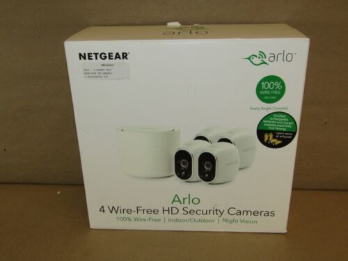 NETGEAR Arlo Smart Home Indoor/Outdoor Wireless High-Definition Security Cameras (4-Pack) White/Black VMS3430-100NAS