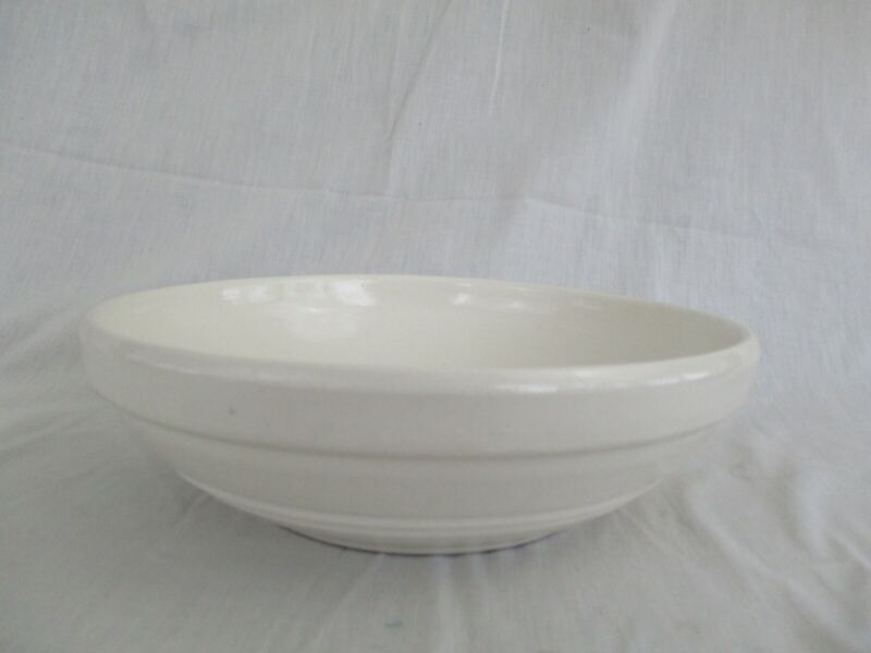 "Vintage White Stoneware Crock Ribbed 10"" Bowl Mark DW Made in USA"